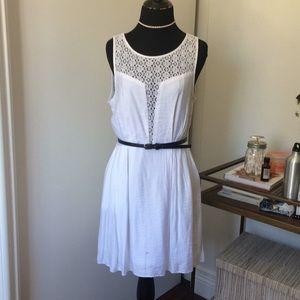 BCBG white fit fare silky dress